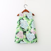 Everweekend Girls Floral Leaves Print Dress Mignon Baby Green Color Clothes Sweet Kids Western Fashion Fall Vêtements