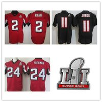 Wholesale Elite American Football - super bowl jersey #11 Julio Jones #2 Matt Ryan jersey High quality American football Black Red Elite 100% Stitched Logos Free Shipping