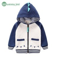 Wholesale boy toddlers jacket - Wholesale- 2-7 Years children's clothing boys girls Dinosaur Hoodie cotton cartoon Winter kids coats Jacket boys hoodies toddler sweatshirt