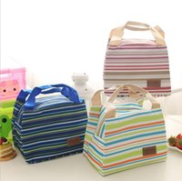 Wholesale Wholesale Fabric Storage - Portable Lunch Bag Oxford Stripe Cooler Thermal Insulation Travel Picnic Food Lunch Bag picnic tote Case Storage Bag KKA2353