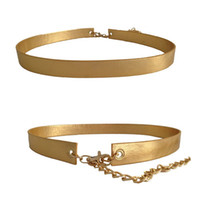 Wholesale Easy Wear Dress - 2.5cm wide Women PU leather belt Gold with chain easy hook close soft double sides wear belt for dress, new arrival! bg-022