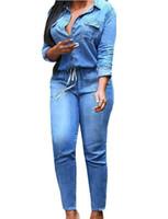 artı bayanlar için tulumlar toptan satış-Toptan ücretsiz kargo Artı Boyutu S-3XL Moda Kot Kadın Seksi Ince Kadın Pantolon Mavi Feminino Bahar Lady Denim Tulum Uzun Kollu Trou