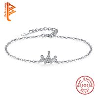 Wholesale Crowns For Weddings - BELAWANG Authentic 925 Sterling Silver Retro Zirconia Crystal Crown Charms Bracelets with Link Chain for Women Girls Wedding Jewelry