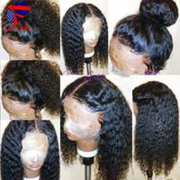 yapışkan olmayan doğal saç çizgisi perukları toptan satış-Siyah Kadınlar için stok Kıvırcık Sentetik Dantel Ön Peruk Tutkalsız doğal kıvırcık Sentetik Peruk Doğal Saç Çizgisi ile Dantel Ön Peruk