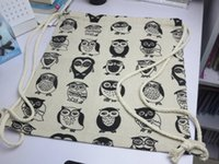 Wholesale string bag owl resale online - 10pcs New Arrival Backpack style cotton canvas Brief Animals Owls Birds printed women girl Drawstring Shoulder Bags Backpack bags