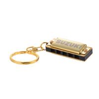 Wholesale Golden Keychain - wholesale Suzuki Harmonica Mini 5 Holes 10 Tone Harmonica Keychain Key of C Golden