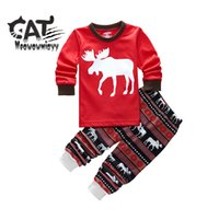 Wholesale Girls Christmas Shirt - Christmas casual sets 2017 spring children clothing 2pcs 100%cotton red cartoon elk long sleeve T-shirt,stripe pants kids girls sets