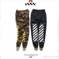 Wholesale Stripe Sweat - OFF WHITE Men's Casual Sweat Pants Teenager Hip Hop Casual Stripes Print Joggers Pants Off White Virgirl Abolh Black Pants Free Shippin