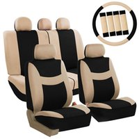 Wholesale Universal Car Seats Covers - Four Seasons Universal 5-Headrest Flat Cloth Car Seat Cover 10-Piece Set Beige & Black 33000057