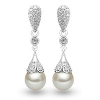 Wholesale Elegant Pearl Drop Earrings - PATICO Elegant Classic 925 Sterling Silver Water Drop Earring Pearl Dangle Earrings Women Brincos Wedding Pearls Jewelry