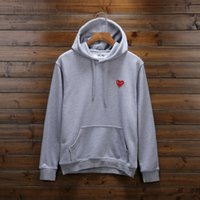 Wholesale Women S Sweater Hearts - 2018 tide brand play hoodie Sweatshirt Loose Red Heart Embroidery Character Hooded hip hop men women hooded sweater sweatershirt