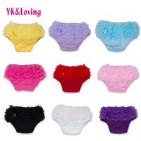 Wholesale Green Infant Diapers - Baby Cotton Bloomers Ruffled Lace PP Panties Baby Girls 10 Colors Cute Diaper Cover Infant Toddle Tutu Short PP Solid Silicone Newborn Cloth