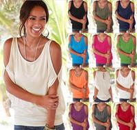 Discount open shoulder shirts - 60pcs 11colors Women Bare Shoulder T-shirt Tops Blouse Loose Batwing Tee Open Cold Shoulder Top M073