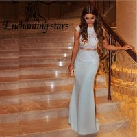 Wholesale Two Piece Lace Sheath - 2017 Sheath Lace Evening Dresses Two Piece Design Cap Sleeves Delicate Elastic Satin Women Formal Dress See Through Prom Party Gown Fashion