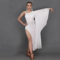 Wholesale One Sleeve Sequin - 2016 Sex Lady Latin Dance Dress Women One Sleeve Sequin Regata Feminina Roupa De Ginastica Vestido De Baile Latino Dance Costume DQ20671