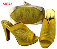 Wholesale Slippers Set Mop - Hot Selling Italian Woman Shoes And Bags Set Africa Style High Heels Slipper Shoes And Bag Set For Party Dress Blue