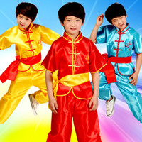 Wholesale Kung Fu Clothing Women - 3pcs4color children traditional national martial arts dance practice tai chi men and women wear casual clothes sleeves Kung Fu shirt pants