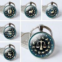 Wholesale Zodiac Key Chains - JLN Twelve Constellation Key Chain 12 pcs lot Zodiac Time Gems Cabochon Key Ring Dome Glass Jewelry Gift For Man Woman