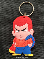 Wholesale Japanese Anime Silicone Dolls - Japanese Anime Slam Dunk Hanamichi Sakuragi Basketball doll rubber two-side keyring keychain Gift For Fans