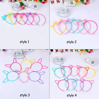 Wholesale crown hair band for girls - Crown&Cat Ear Headband Hair Hoop 4 Styles Cute Cat Ear Hairband for Girl Plastic Headband Hair Band Accessories Christmas gift 60 pcs lot