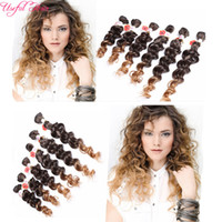 Wholesale Hair Braid Head Free Shipping - Free shipping 6pcs lot Jerry curly freetress hair for one head ombre brown synthetic hair extension curly crochet purple braiding Hair
