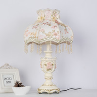 Wholesale Princess Bedside Lamps - Decorative princess table lamp light bedside classic palace art decoration Pattern bedroom resin fabric desk table light lamp