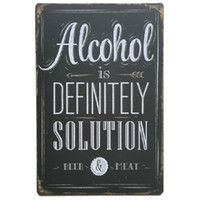 Wholesale Alcohol Signs - Alcohol Definitely Solution Retro rustic tin metal sign Wall Decor Vintage Tin Poster Cafe Shop Bar home decor