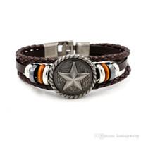 Wholesale Wholesale Men Jewelery - Antique five - pointed star Rivets Weave Leather Bracelets for Men Punk Wrist Fashion Jewelery Charm Bracelet 2 Colors