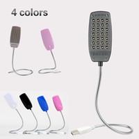 defter lambası toptan satış-Mini USB Gece Lambası okuma lambası 28 LEDs Esnek LED USB dizüstü Notebook PC Bilgisayar Masaüstü Görme Korumak için