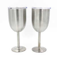 Wholesale Double Layer Stainless Steel Red Wine Cups Double Wall Vacuum Insulated Cups With Lid Goblet Champagne Cup Mugs Kids Adult