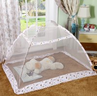 Wholesale baby crib canopy netting - Hot Children Infant Baby Bed Canopy Playpen Floding Cartoon Mosquito Nets Character Portable Crib Baby Mosquito Net Bed Tent
