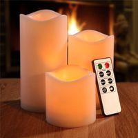 fernbedienung drahtlose kerzen großhandel-3 stücke Romantische Kerze Licht Drahtlose Fernbedienung LED Fliker Flammenlose Kerze Nachtlicht Für Hochzeit Urlaub Dekoration