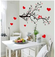 Wholesale free wallpaper designs - 7179 Free Shipping DIY Wall Art Decal Decoration Love Birds Tree Branches Wall Stickers Home Decor 3D Wallpaper for Living Room