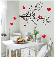 ingrosso carte da parati per uccelli per soggiorno-7179 spedizione gratuita fai da te decorazione della parete di arte della decalcomania amore uccelli rami di albero adesivi murali decorazioni per la casa 3d carta da parati per soggiorno