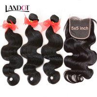 Wholesale Dyeable Mixed Lengths - Grade 9A Brazilian Peruvian Malaysian Indian Virgin Human Hair Weaves 3 Bundles With Lace Closures 5x5 Size Body Wave Cambodian Hair Dyeable