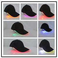 Wholesale Novelty Fiber Optic - 16 Colors Newest Baseball Hats LED Luminous Party Cap Unisex Hockey Snapback Basketball Ball Caps Unisex Fiber Optic Hat CCA6550 100pcs
