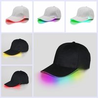 Wholesale Led Baseball Caps Wholesale - LED Light Hat Party Hats Boys And Grils Cap Baseball Caps Fashion Luminous Stage Snapbacks Fitted Hats Different Colors Adjustm YYA128