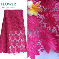 Wholesale African Fabric Lace Pink - Pink African Net Lace Fabric Water Soluble Flower Embroidered Lace Guipure French Mesh For Women Dresses Cotton Fabrics Cord Lac