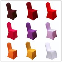Wholesale Seat Covers Spandex Weddings - 7 5yh Solid Color Chair Covers Thicker Elastic Force Seat Chairs Cover Folding For Hotel Restaurant Wedding Banquet Decoration Practical