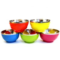 Wholesale High quality stainless steel bowl double insulated rice bowl smooth edge welding soup bowl for kitchen accessories