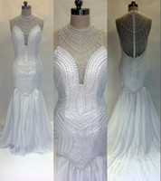 Wholesale wedding dress real pictures back mermaid resale online - 2017 Sexy Real Picture Plus Size Mermaid Wedding Dresses Jewel Neck Illusion Pearls Chiffon Sheer Back Long Court Train Formal Bridal Gowns
