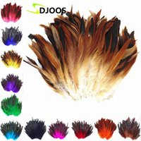 Wholesale Wholesale Fly Tying Feathers - 200 PCS Natural Colourful Rooster Feathers Fly Tying Bulk Feathers Christmas Decorations For Home Wedding New Year Cosplay Sale