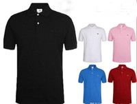 Wholesale Hot Pink Men S Shirts - Hot Sell New Brand 2017 crocodile embroidery Polo Shirt Men Short Sleeve Casual Shirts Man's Solid Polo Shirt Plus 5XL 6XL Camisa Polo