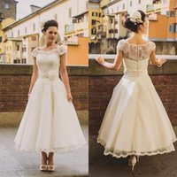 Wholesale Bridal Gowns Vintage Ankle Length - 1950s Vintage Ankle Length Wedding Dresses Cap Sleeve Jewel Neck Flower Belt A Line Lace Short Bridal Gowns Custom Made 2017