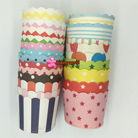 Wholesale paper ice cream cups - Hot selling 3000pcs Mixed Round Paper Cake Cup Ice cream Candy Cupse Muffin Cups For Party Festive
