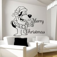 Wholesale sticker funny faces - Christmas Santa Clause Funny Face With Merry Christmas Wall Sticker Home Kids Bedroom Decor Wall Mural MC013