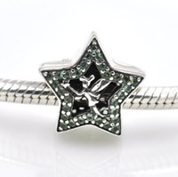 Wholesale Fairy Charm Bracelet - 2017 Charms 925 Sterling Silver Fairy Tinker Bell Star Green Crystals Charm Beads Fit Pandora Charms Bracelet DIY Jewelry