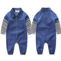 Wholesale Toddler Boy Denim Overalls - New Baby Denim Onesies Rompers Babies Striped Panelled Sleeve Jumpsuits Overalls Infants Toddler Long Sleeve One Piece Jumpsuits For 0-2T
