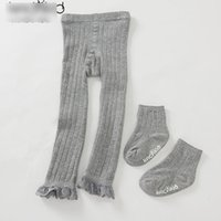 Wholesale Grey Winter Leggings - Girls Leggings Korean C0tton Children Tights Pants With Socks Sweet pure color Lace Edge matching Princess Autumn Toddler Tights Grey A6770