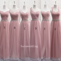Wholesale Ordering Bridesmaid Dresses - Soft Tulle Long Bridesmaid Dress Lace Up New Wedding Bridesmaid Dresses 6 Style Mixed Order